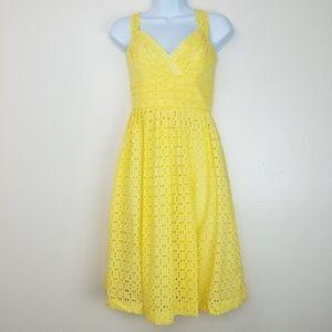Shoshanna Yellow Eyelet Fit Flare Summer Dress 6